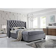 grey bed brando wing back chesterfield king size bed frame 5ft 150cm grey