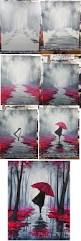 walking in the rain step by step 16x20 canvas acrylic paint in