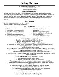 Resume For Medical Assistant Externship Skills For Medical Resume Example Medical Assistant Resume With