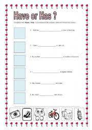 have or has worksheet by vtakamatu