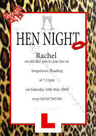 stag do invite leopard print l plate hen night