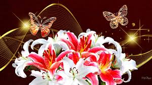 flowers summer sparkle gold bouquet bright butterflies
