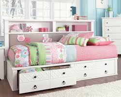 full size white storage bed with bookcase headboard 20377