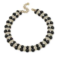 crystals fashion necklace images Shop gold tone black lucite beaded collar necklace 22mm round jpg