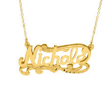 Nameplate Necklace Double Plated Plate Diamond Cut Name Necklace