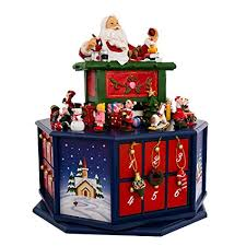 lighted santa s workshop advent calendar amazon com kurt adler 12 inch santa workshop wind up musical advent