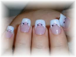 endearing wedding nail art design idea with pale blue and pink