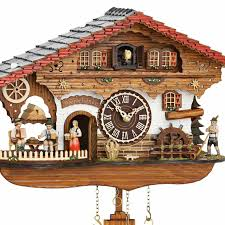chalet style quartz cuckoo clock with beer house and mill wheel