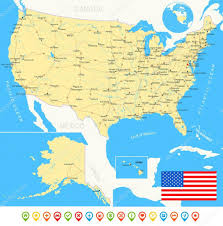 Usa Map Vector by United States Usa Map Flag Navigation Icons Roads Rivers