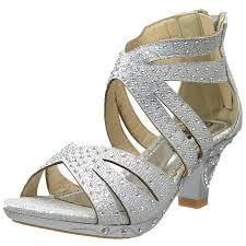 kids dress sandals rhinestone glitter cutout high heel pageant