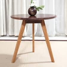 Round Dark Wood Coffee Table - side table small white wooden side table solid wood side of the