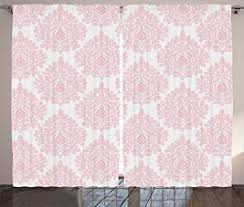 amazon com light pink curtains damask decor by ambesonne damask