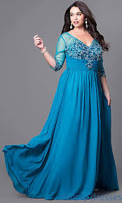 3 4 sleeve plus size formal dress with beading