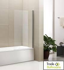 800mm clear or mirror single panel frameless bath shower screen