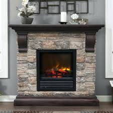 built in electric fireplace with mantel corner brown varnished oak