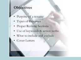 creating an effective resume u0026 cover letter objectives purpose of