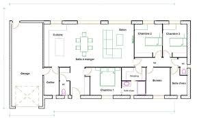 plan maison en u ouvert plan maison plain pied 3 chambres 120m2