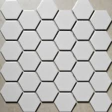 Non Slip Floor Coating For Tiles Hexagon Porcelain Tile White Shiny Porcelain Non Slip Tile