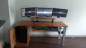 small diy computer desk table with butcher block top and cpu stand