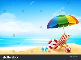 Beach Umbrella And Chair Chair Ball Starfish Life Ring On Stock Vector 643302628 Shutterstock