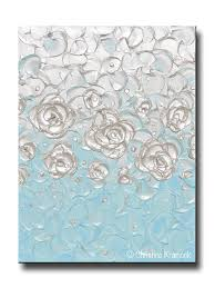 custom abstract painting pearl white blue floral decor