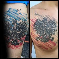 watercolor flag mens polish eagle upper chest tattoo tatoo