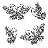 butterflies vectors set clip royalty free gograph