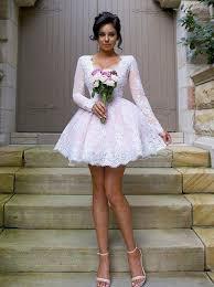 buy nectarean v neck long sleeves short pink ball gown bridesmaid