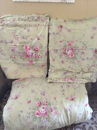 simply shabby chic queen duvet cover shams green rose bouquet