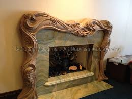 wood art nouveau mantle by michael mcconnell art nouveau woodcarving