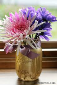Flower Vase Crafts Diy Painted Mason Jar Flower Vases Mom Spotted