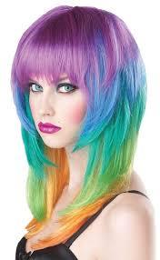 Rainbow Halloween Costume Kaleidoscope Hairstyle Medium Length Multi Color Rave Neon Rainbow