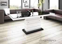Wohnzimmertisch Folie Design Couchtisch H 333 Schwarz Weiß Hochglanz Höhenverstellbar
