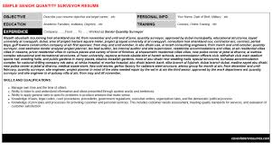 senior quantity surveyor resume sample quantity surveyor cv