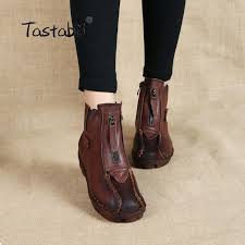 Comfortable Casual Boots Tastabo Genuine Leather Ankle Boots Velvet Handmade Lady Soft Flat