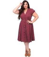 plus size 1940s style raspberry u0026 cream polka dot harriet swing