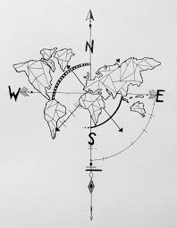 World Map Necklace by Geometric World Map Compass Arrow Nautical Travel Tattoo Design