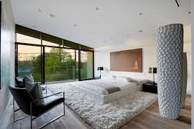 black and white modern bedrooms contemporary home with pool has black and white interior