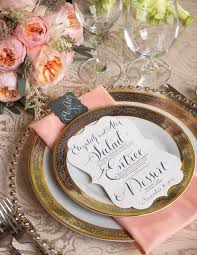 wedding plate settings pink and gold wedding table settings