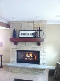 fieldstone fireplace reface cherry mantel with corbells wood