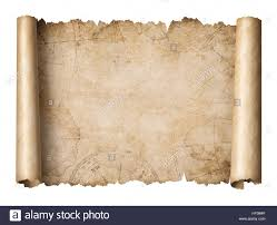 Blank Pirate Treasure Map by Old Treasure Map Scroll Isolated 3d Illustration Stock Photo