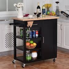 oak kitchen island cart costway 4 tier rolling wood kitchen trolley cart island blue