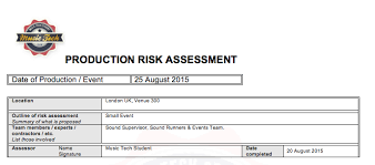 manufacturing risk assessment template risk assessments for sound tech student
