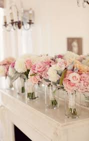 Florist Vases Bridesmaid Bouquets At The Head Table In Vases Going To The