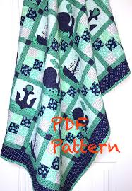 Nautical Quilt Sailboat Quilt Pattern Whales Baby Quilt Pattern Nautical