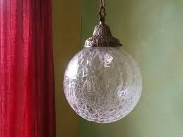 Crackle Glass Pendant Light Vintage Crackle Glass Pendant L Large Globe Crackle