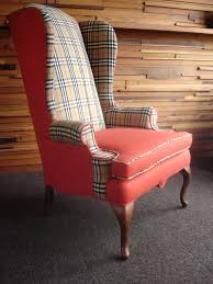 wingback chair reupholstered with burberry skirt and jacket and