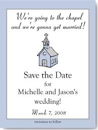 save the date card save the date card going to the chapel in blue