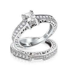 silver wedding ring 0 75ct 5mm cz sterling silver wedding engagement ring set