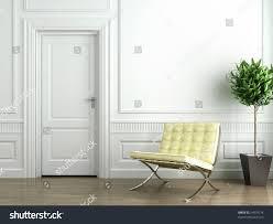classic white interior barcelona chair plant stock illustration